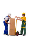 The two workers isolated on the white background Stock Photography
