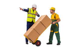 The two workers isolated on the white background Stock Image