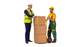 The two workers isolated on the white background Royalty Free Stock Images