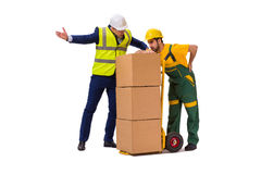 The two workers isolated on the white background Royalty Free Stock Photography