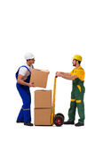 The two workers isolated on the white background Royalty Free Stock Photos