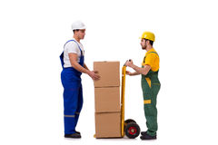 The two workers isolated on the white background Stock Photos