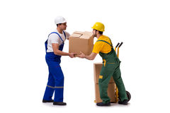 The two workers isolated on the white background Stock Photo