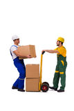 The two workers isolated on the white background Stock Images