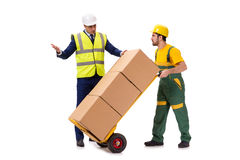 The two workers isolated on the white background Royalty Free Stock Photo