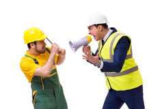 The two workers isolated on the white background Royalty Free Stock Image