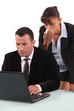 Two workers look surprised Royalty Free Stock Image