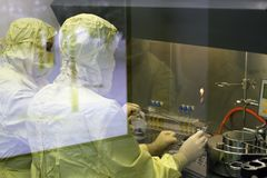 Two workers in a protective clothing lab carry out research. Work with chemicals, job at laboratory, n royalty free stock images