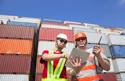 Two workers with tablet  and standing Royalty Free Stock Photo