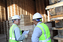 Two workers talking beside on stacking pallet. With holding notes Royalty Free Stock Photo