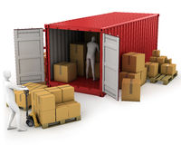 Two workers unload container Royalty Free Stock Photos