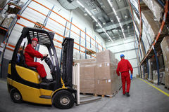 Two workers at work in storehouse royalty free stock photo