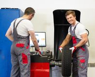 Two workers in a workshop Stock Photos