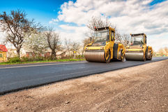 Two working road rollers Stock Photo