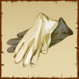Two workwear gloves closeup of white  Royalty Free Stock Photo