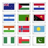 Two World  Flags on Metal Texture Plates Royalty Free Stock Photos