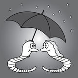 Two worms and rainy weather eps10. Two grey worms and rainy weather eps10 Royalty Free Illustration