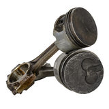 Two worn pistons and two connecting rods Stock Photos