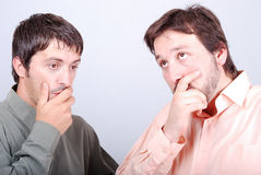 Two worried men. Two worried man with interesting excited faces Stock Photo