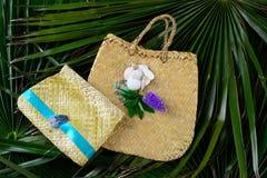 Two woven flax handbags Stock Photos