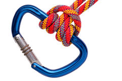 Two-wrap prusik on carabiner Royalty Free Stock Image