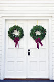 Two Wreaths on a Door Stock Photography