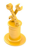 Two wrenches on golden pedestal Stock Photo