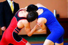 Two wrestlers Greco-Roman competition. Two wrestlers Greco-Roman wrestling during competition Royalty Free Stock Photography