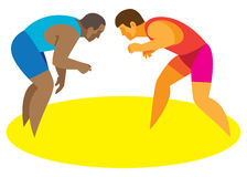 Two wrestlers Greco-Roman wrestling begin their battle Royalty Free Stock Images