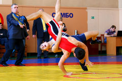Two wrestlers Greco-Roman wrestling. Chelyabinsk, Russia, on January 17, 2015: Two wrestlers Greco-Roman wrestling during Championship of Chelyabinsk region in Royalty Free Stock Photo