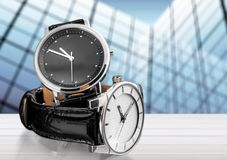 Two wrist watches, close-up view. Wrist two watches black dial group white objects Stock Photos