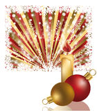 Two xmas balls and candle. Vector illustration vector illustration