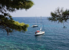 Two yachts. Berthed off the coast of Croatia Stock Photography