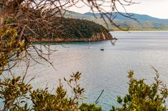 Free Two Yahts Floating Near The Scenic Landscape Of Cala Violina Beach In Tyrrhenian Sea Bay Surrounded By Green Forest In Province Of Stock Photos - 161709063