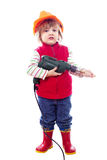 Two-year baby in hardhat with drill Royalty Free Stock Photo