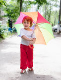 Two-year baby with umbrella Royalty Free Stock Photography