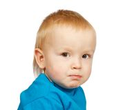 Two-year boy in blue Stock Photo
