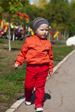 The two-year boy walks in the park Stock Images