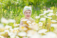 Two-year girl with camomile flowers Royalty Free Stock Photos