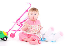 Two-year girl in a pink pajamas Royalty Free Stock Photo
