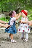 Two year-old adorable child girls playing Royalty Free Stock Photography