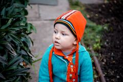 Two year old boy retro clothing stock images