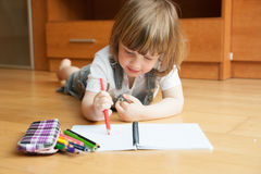 Two year-old girl drawing Stock Photography