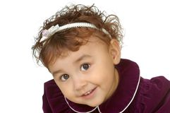 Two-year-old girl in purple dress Royalty Free Stock Photography