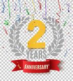Two years anniversary background with red ribbon. Two years anniversary background with red ribbon, confetti and olive branch. Greeting card, poster or brochure stock illustration