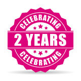 Two years anniversary celebrating vector icon. Isolated on white background royalty free illustration