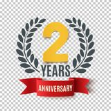 Two years anniversary design. Background with red ribbon and olive branch. Greeting card, poster or brochure template. Vector illustration royalty free illustration