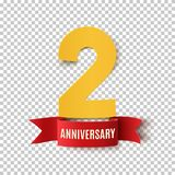 Two years anniversary design template. Two years anniversary design. Background with red ribbon.Greeting card, poster or brochure template. Vector illustration stock illustration