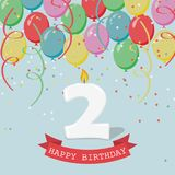 Two years  anniversary greeting card. Balloons, ribbons and confetti Stock Photography