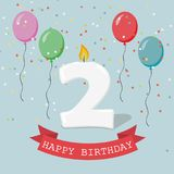 Two years anniversary greeting card. Balloons, ribbons and confetti stock illustration